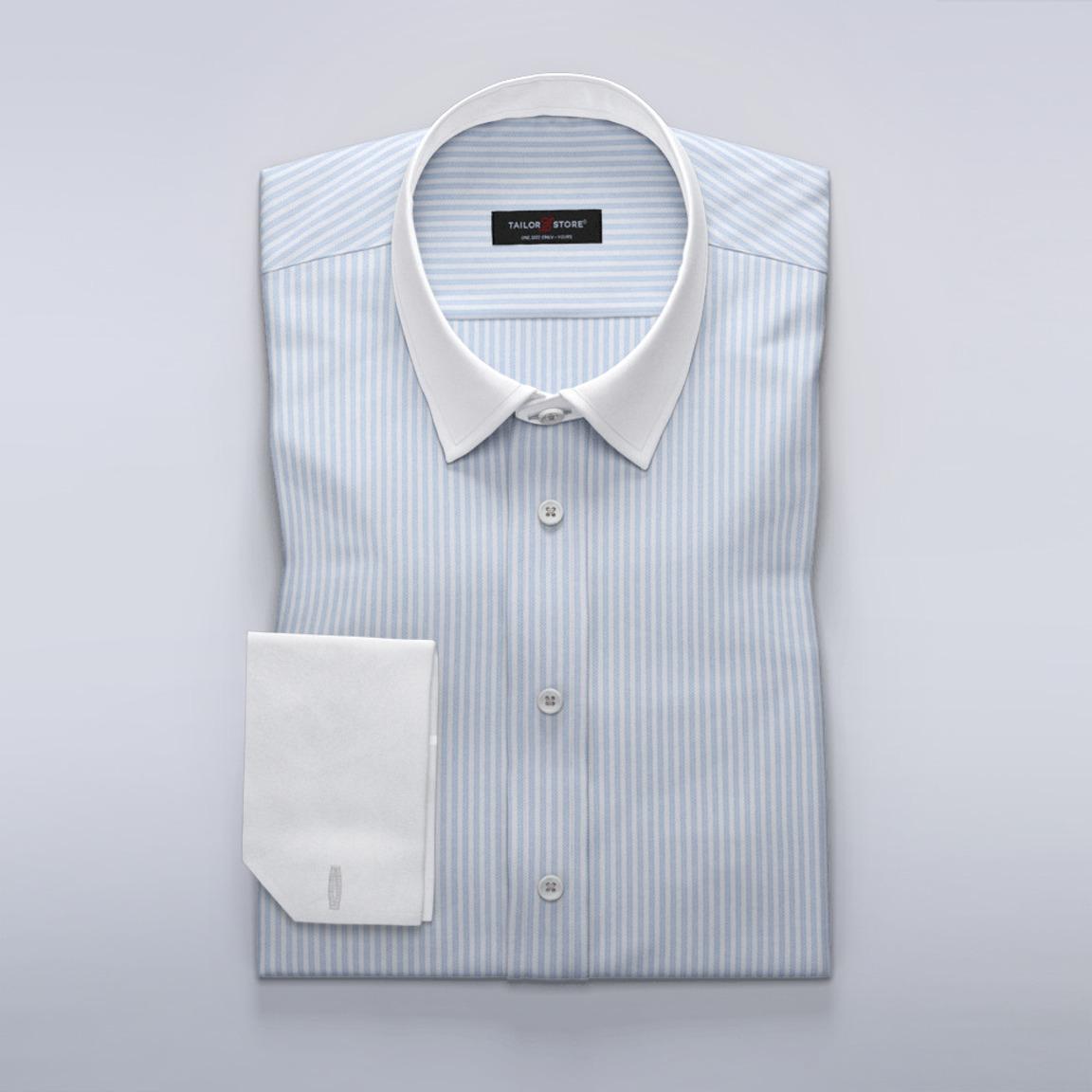 Businesskjorta i exklusiv vit och blå herringbone