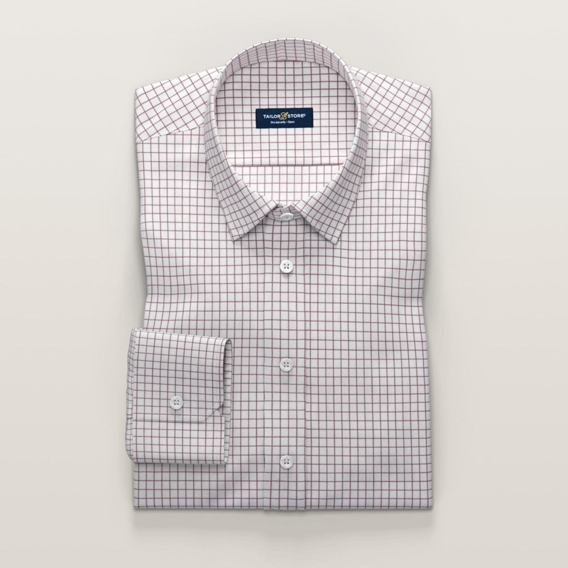 Chemise business à carreaux en twill rouge et blanc
