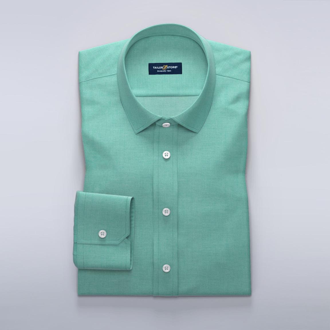 Lys business-skjorte i grønn dobbyvev