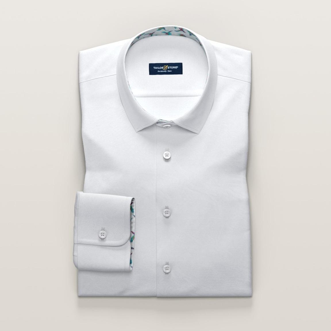 Satin dress shirt with turquoise bird print contrasts