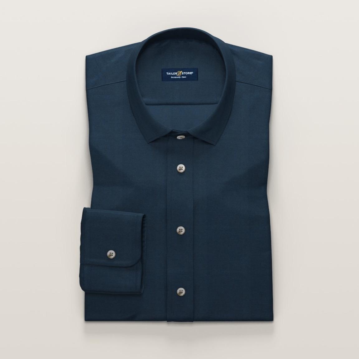 Marinblå skjorta i bomull-tencelmix