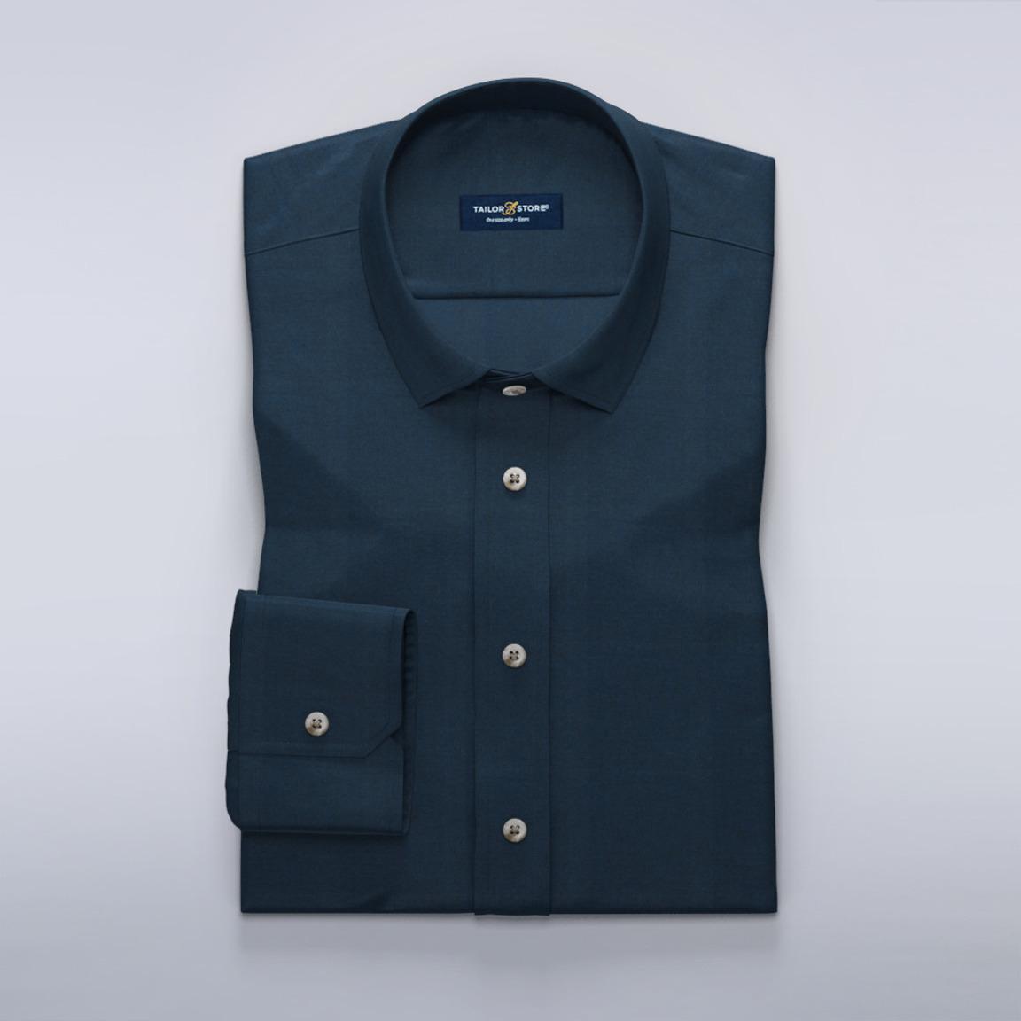 Marineblaues Hemd aus Baumwoll-Tencel-Twillstoff