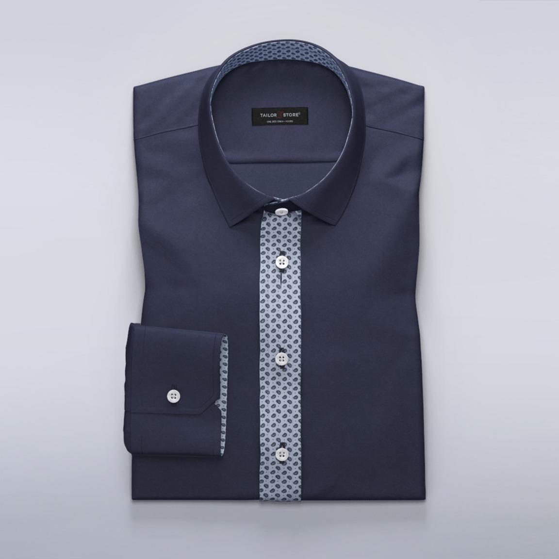Satin shirt in Vanderlay with hinton print contrasts