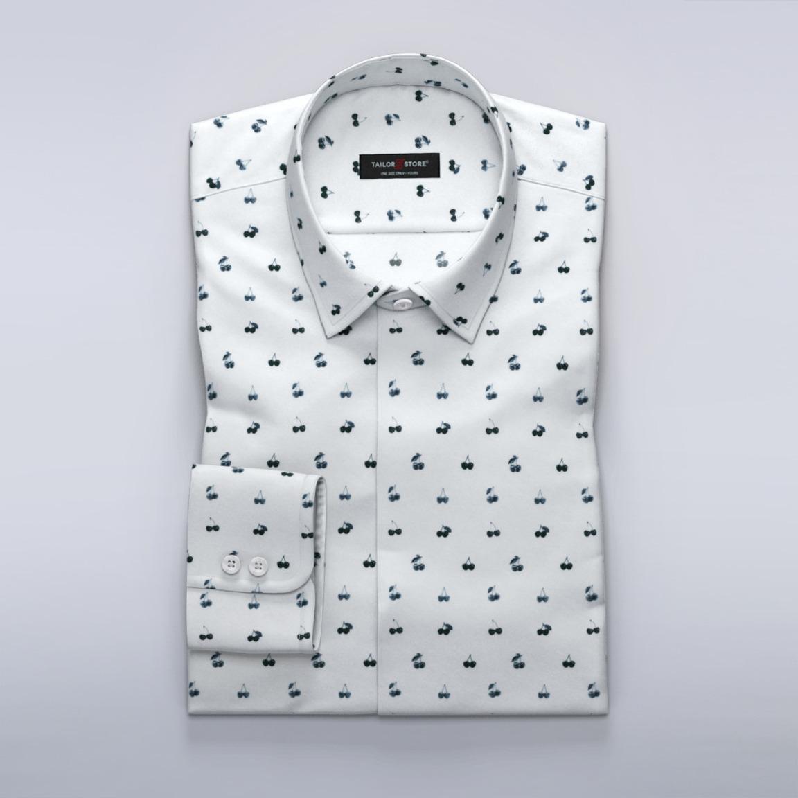 Satin-Hemd mit dunklem Kirschaufdruck