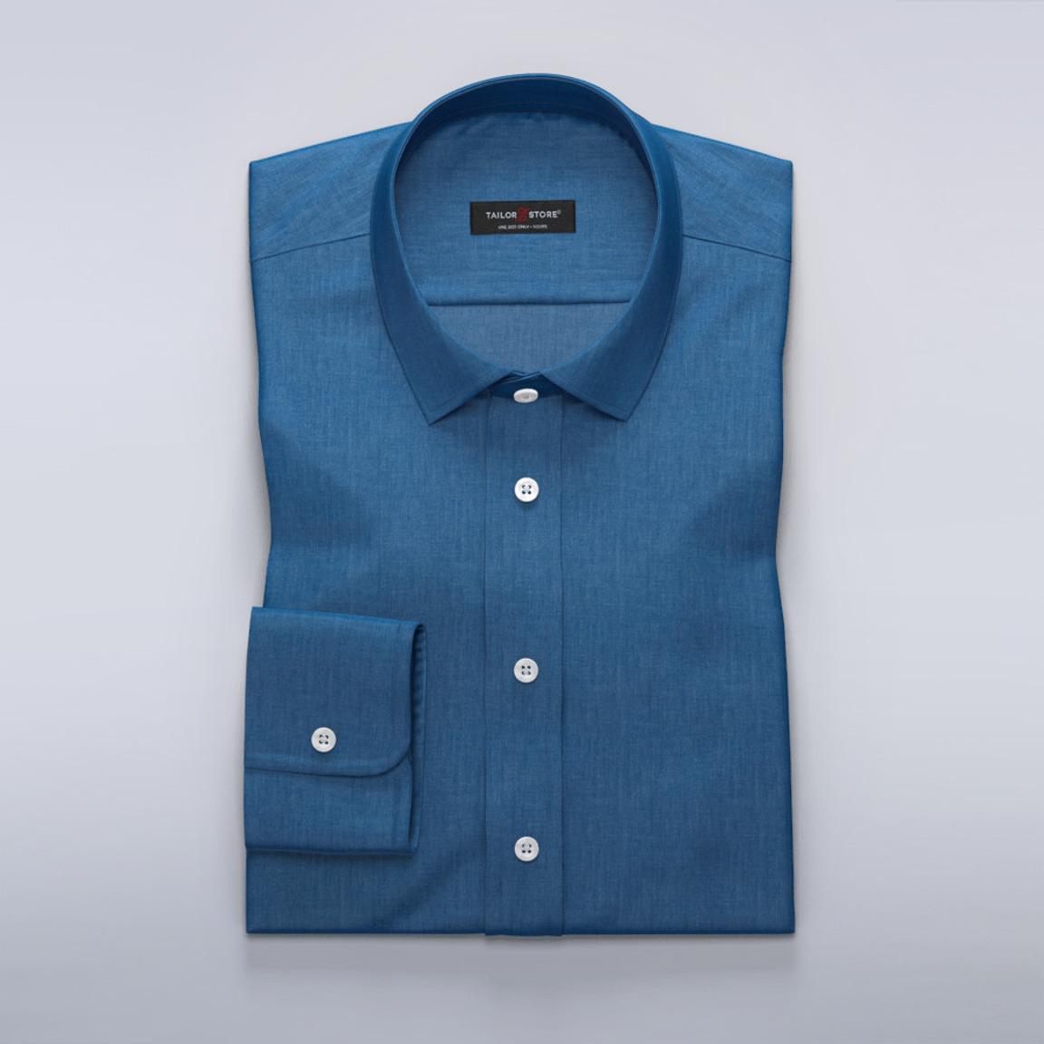 Denimblaues Hemd aus Baumwoll-Tencel-Twillstoff