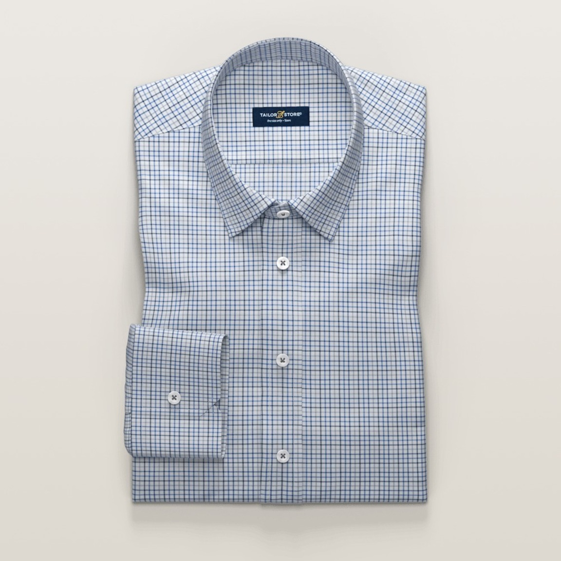Checkered business shirt in gray and blue