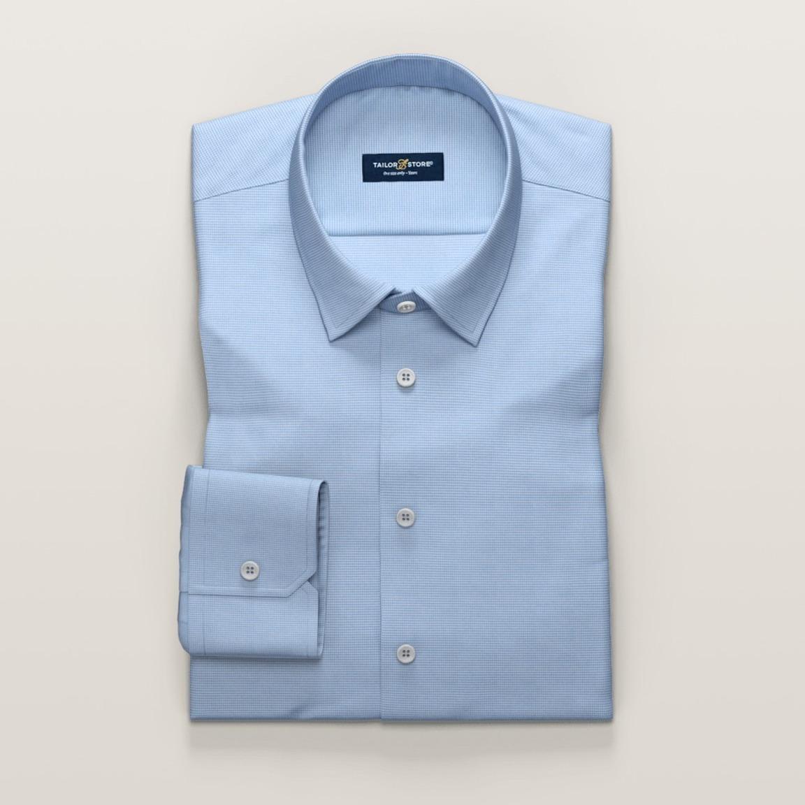 Alpha M - Business shirt in light blue dogtooth weave
