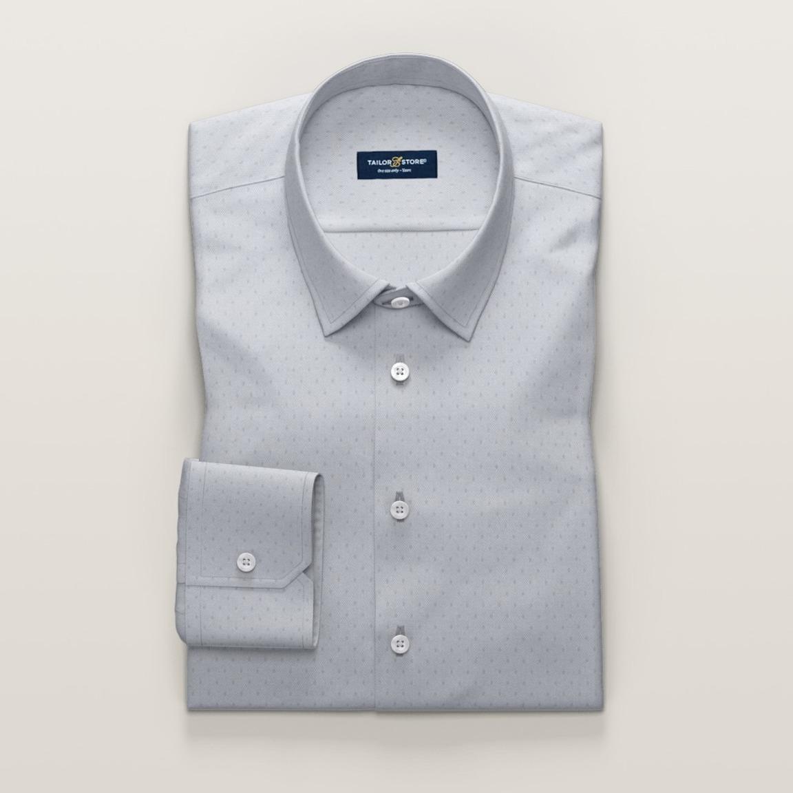 Hellgraues Business-Luxury-Hemd aus Ratière-Gewebe