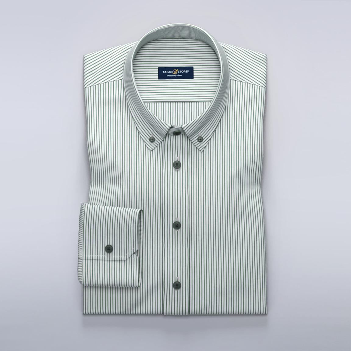 Grønstribet business-skjorte med silkeagtig finish