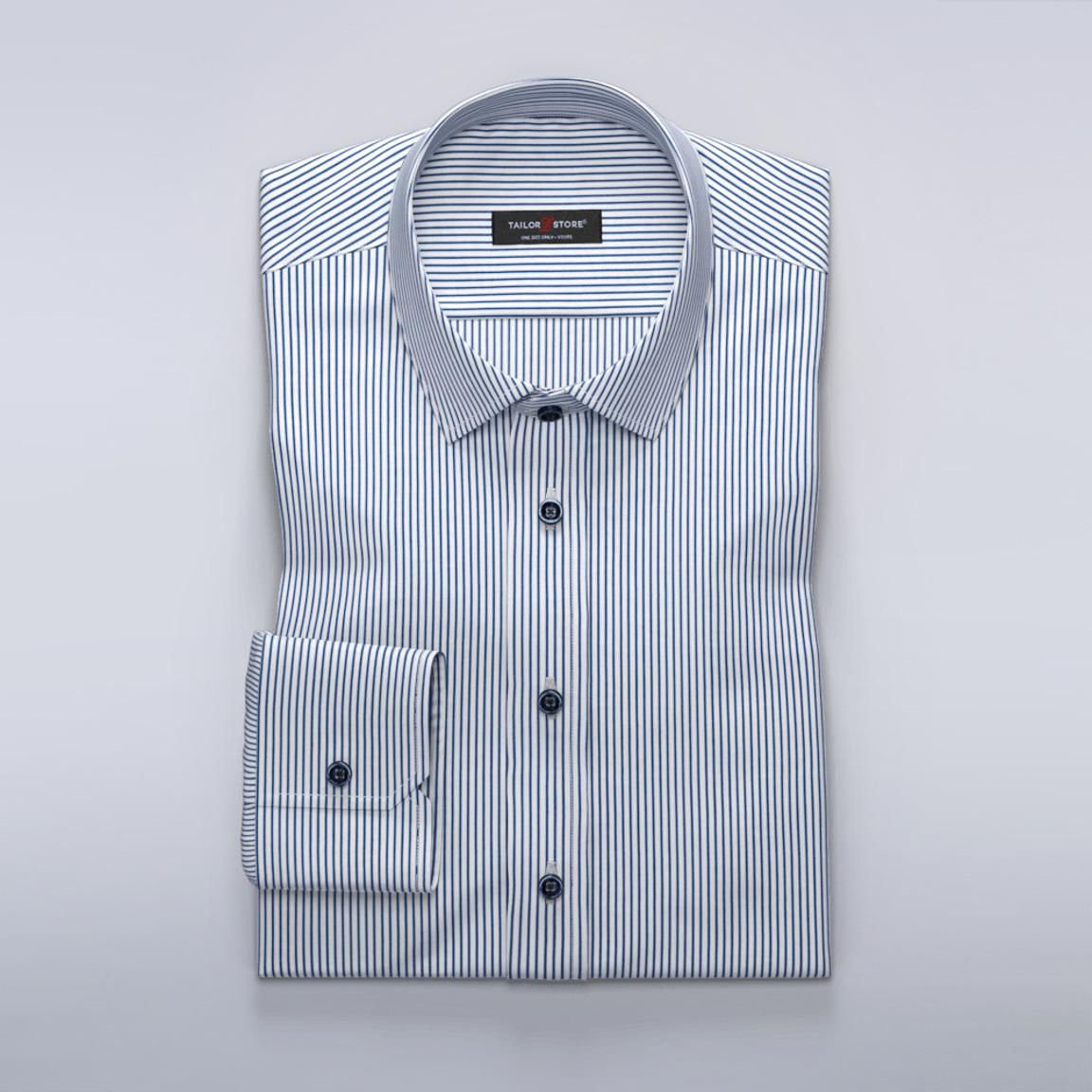 Navy striped business shirt with split yoke