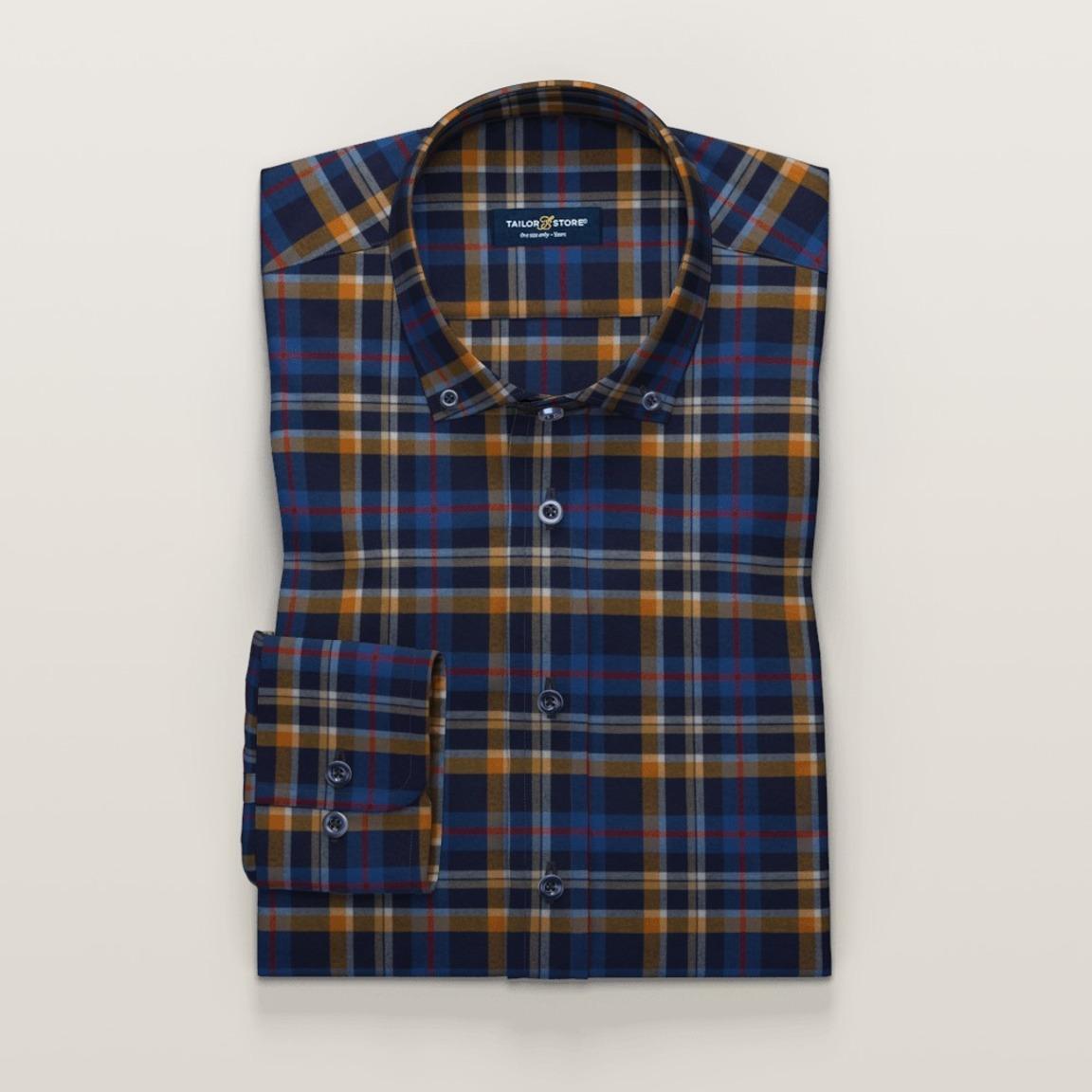 Chemise bleu marine et orange en twill à carreaux