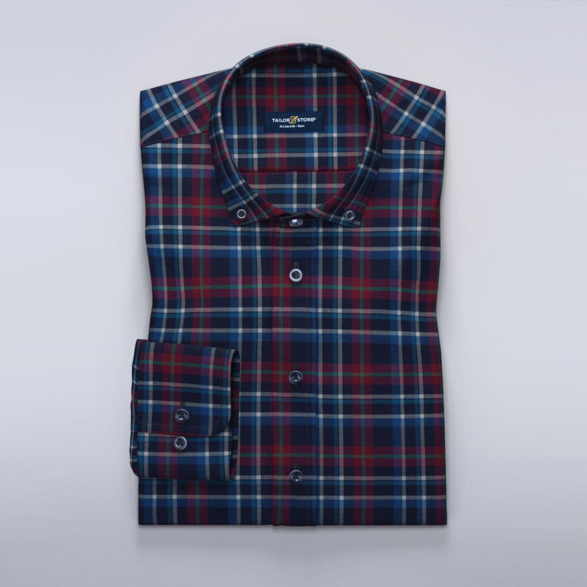 Marineblau-rot-kariertes Hemd aus kariertem Twill