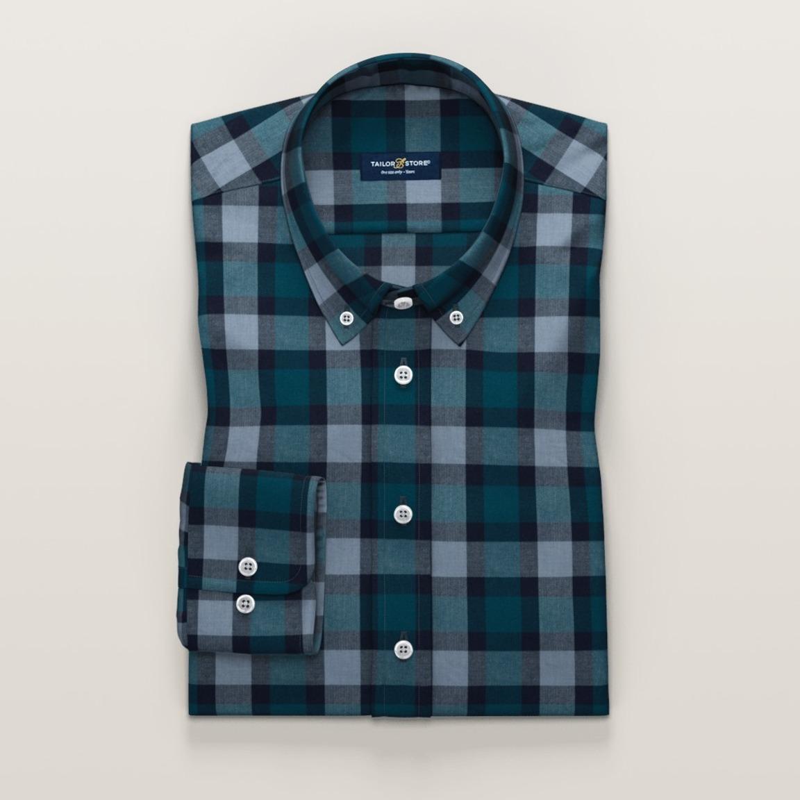 Flanelowa koszula w kolorze morskim ze wzorem w kratę