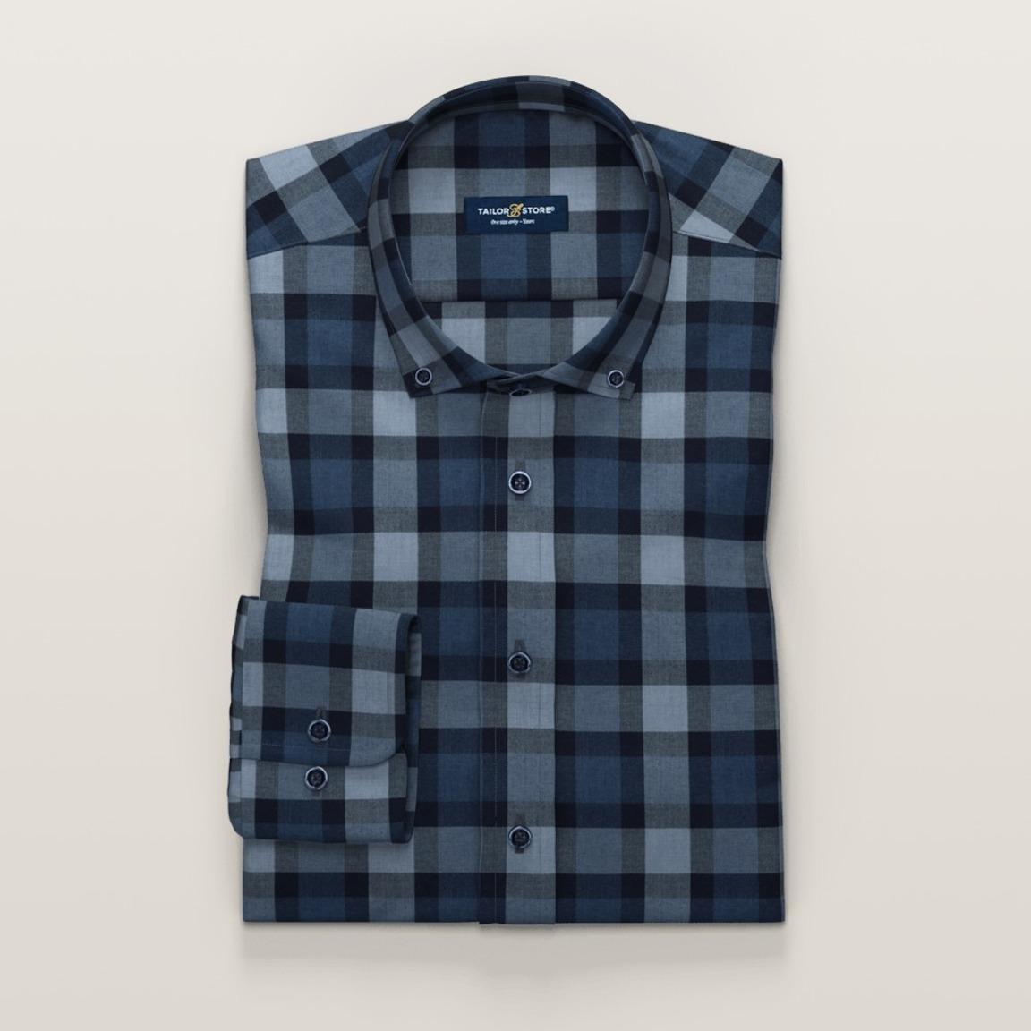 Blue checkered flannel shirt