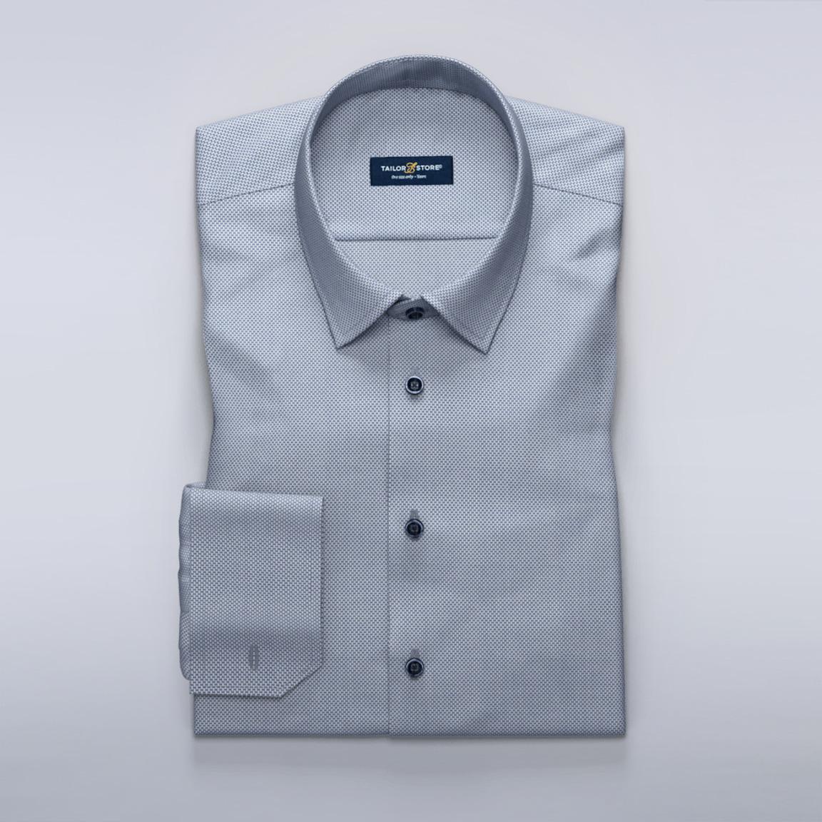 Dark blue business shirt in dobby weave