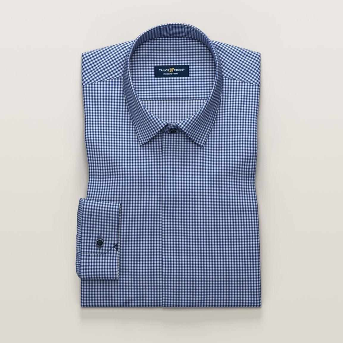 Checked dark blue ladies' dress shirt