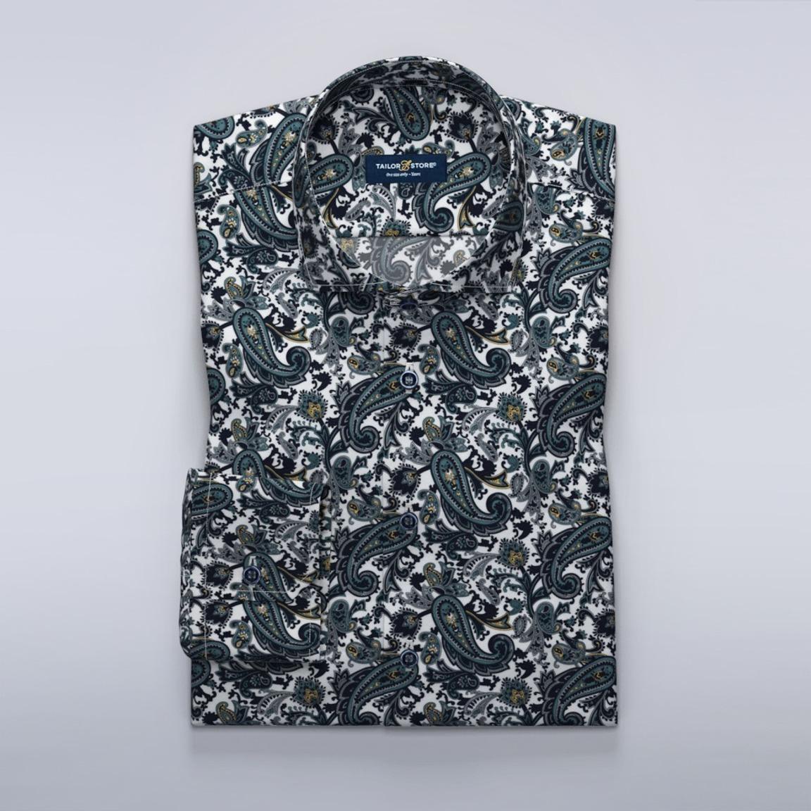 Dunkelblaues Hemd aus Twill mit Paisley-Muster