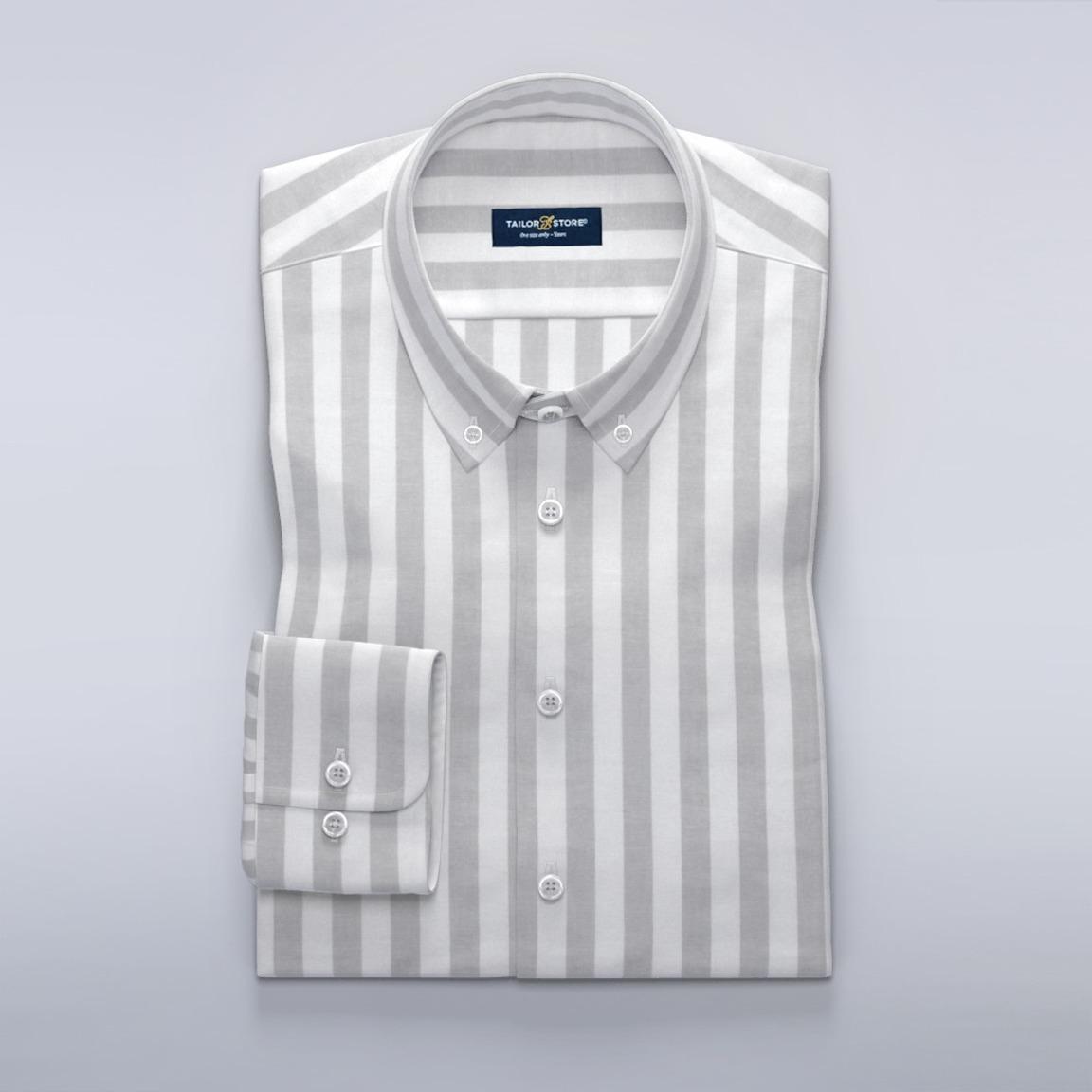 White and light gray striped dress shirt