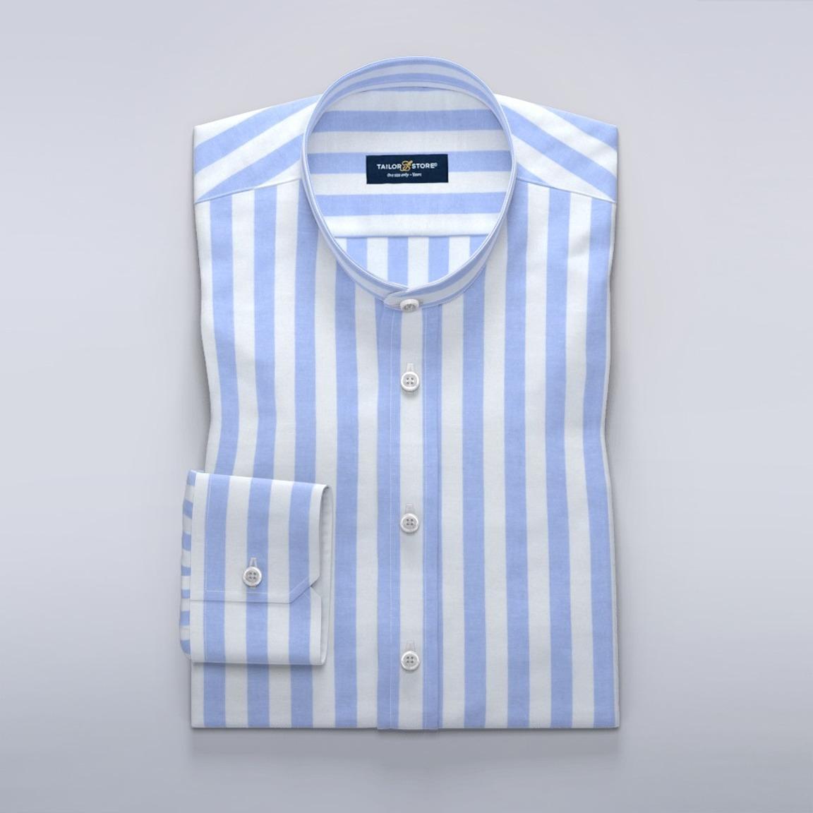 Wit en lichtblauw gestreept overhemd