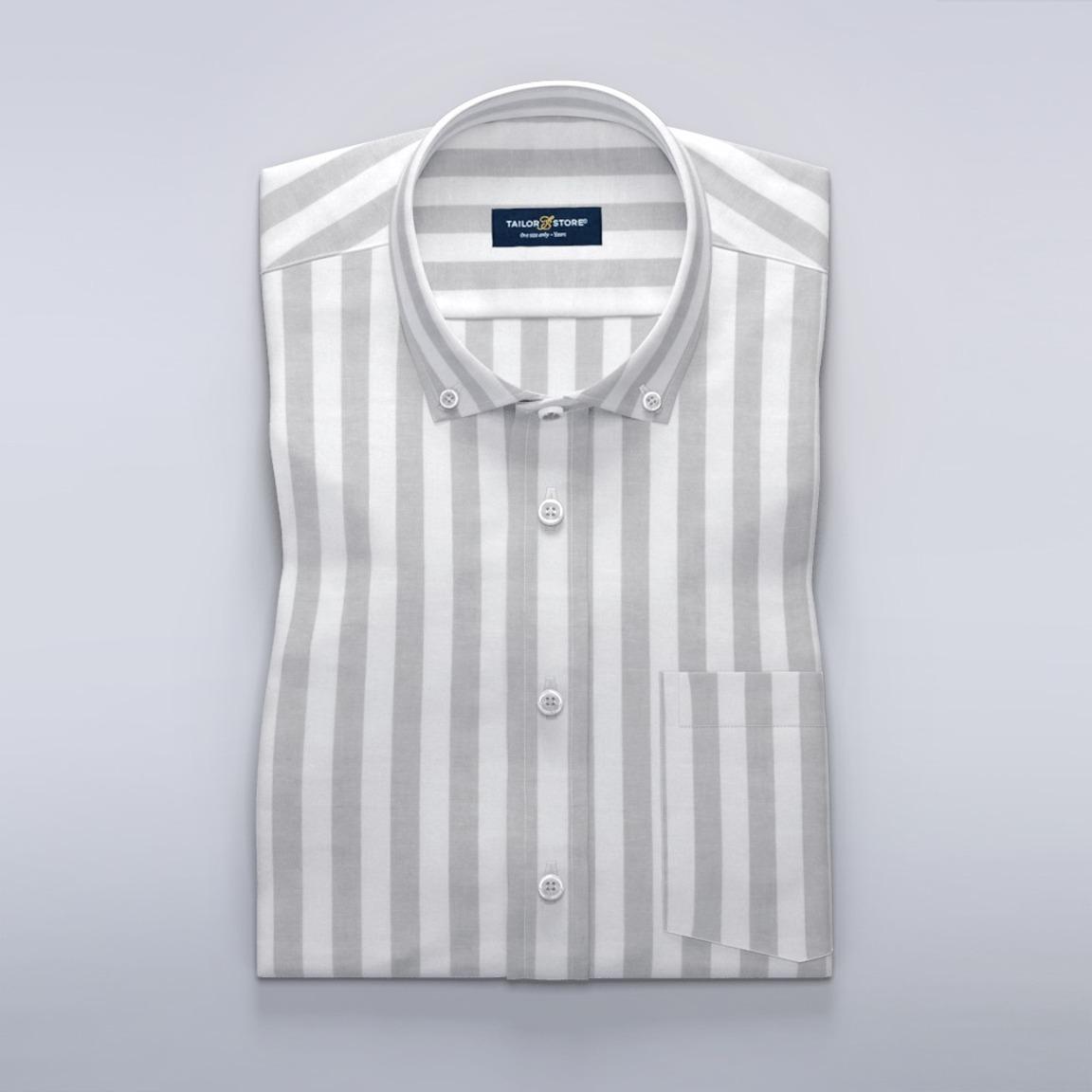 White and light gray striped short sleeved dress shirt
