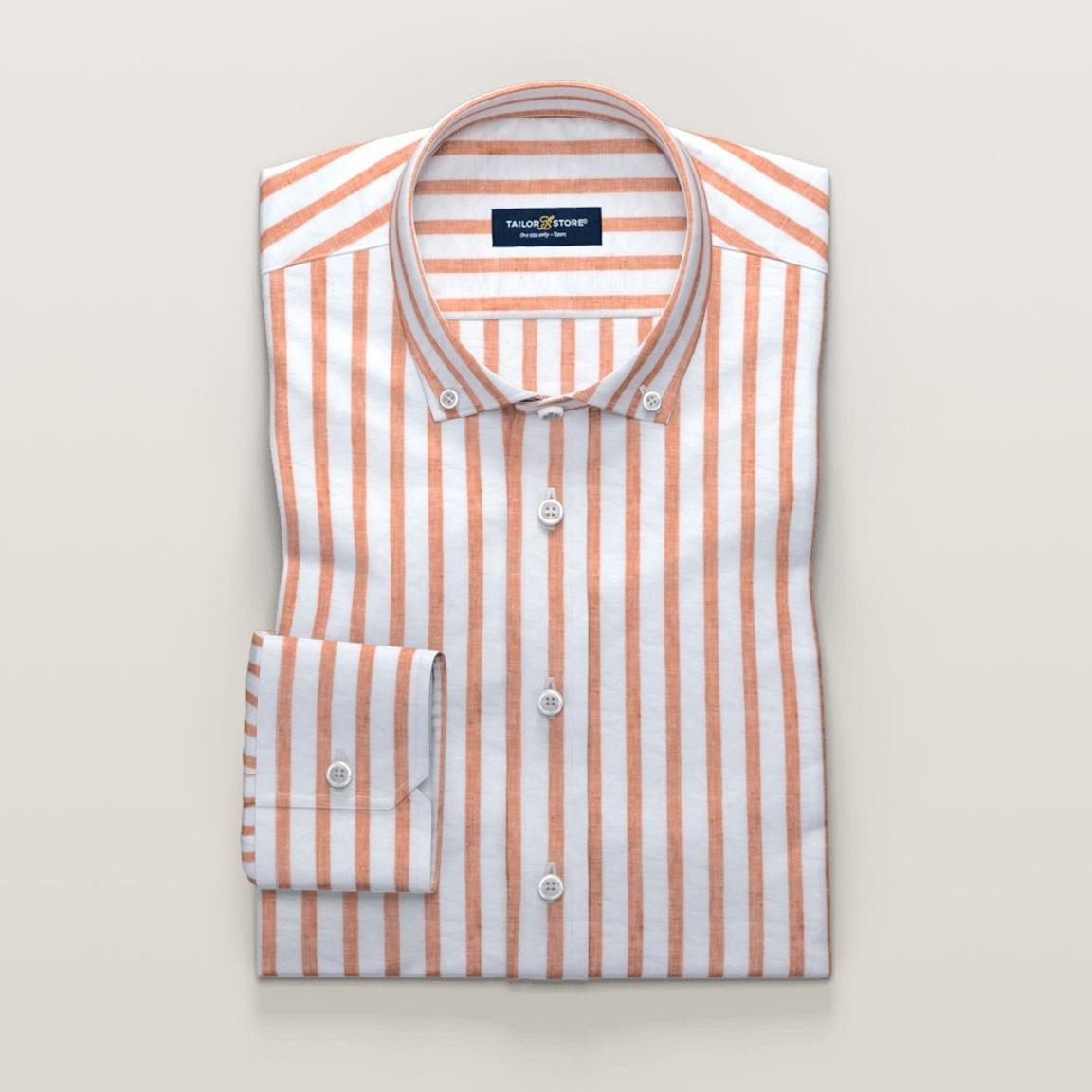 Damskjorta i vit och orangerandig linne