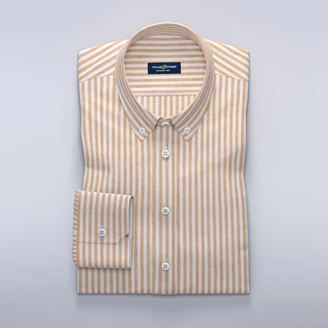 Women's dress shirt in striped white and yellow linen