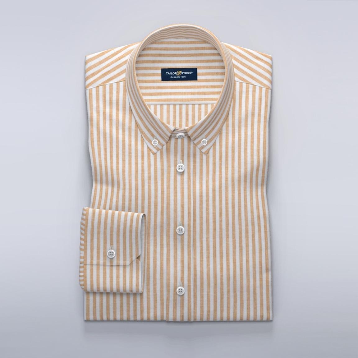 Stripete hvit og gul skjorte