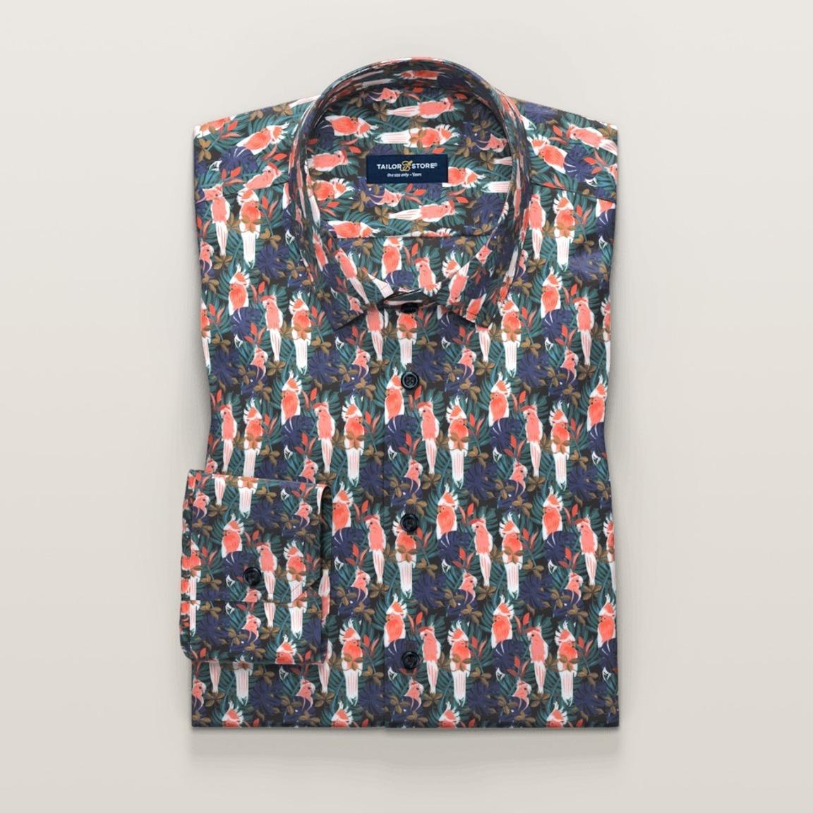 Marineblå skjorte med mønstertrykk