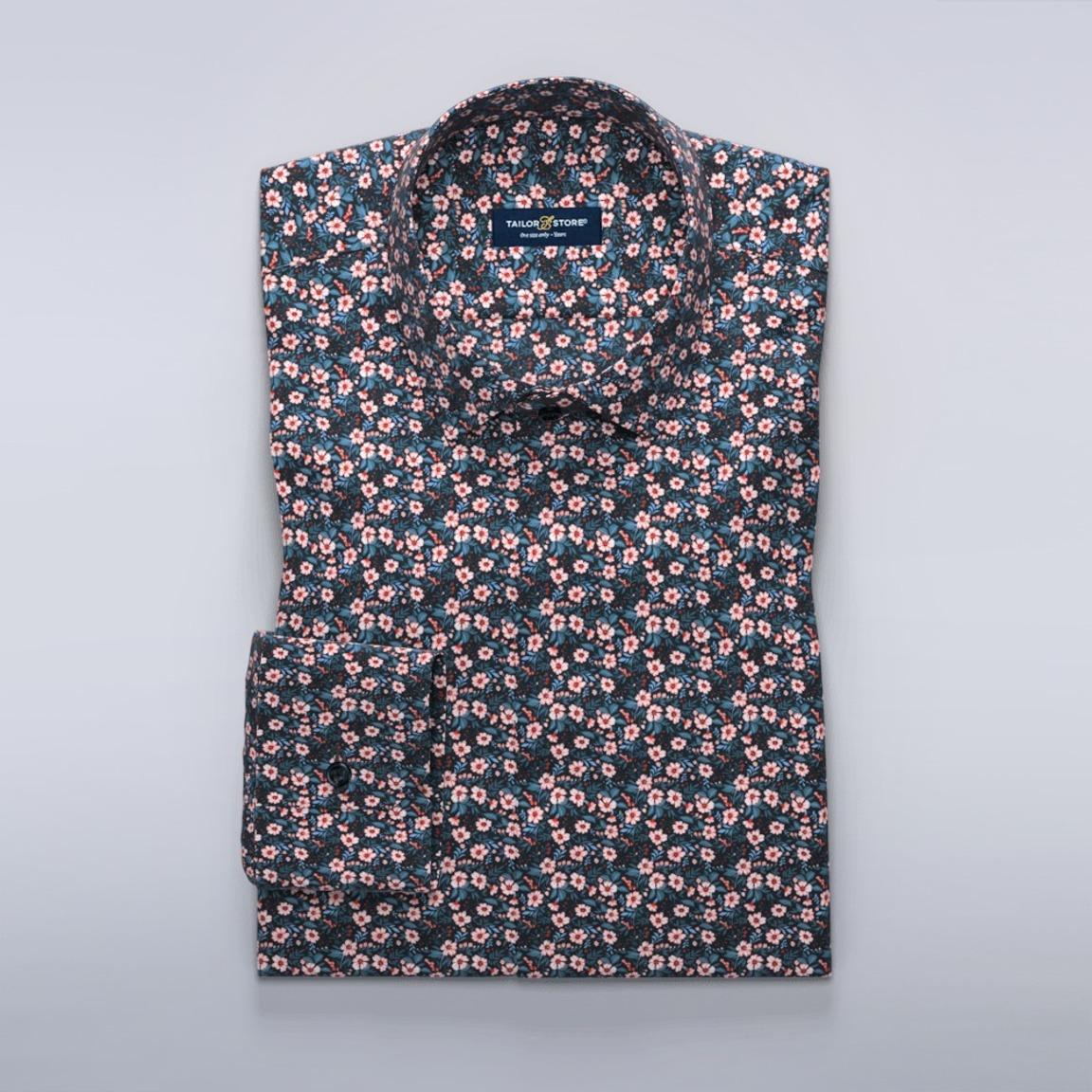 Marineblå skjorte med blomstermønster