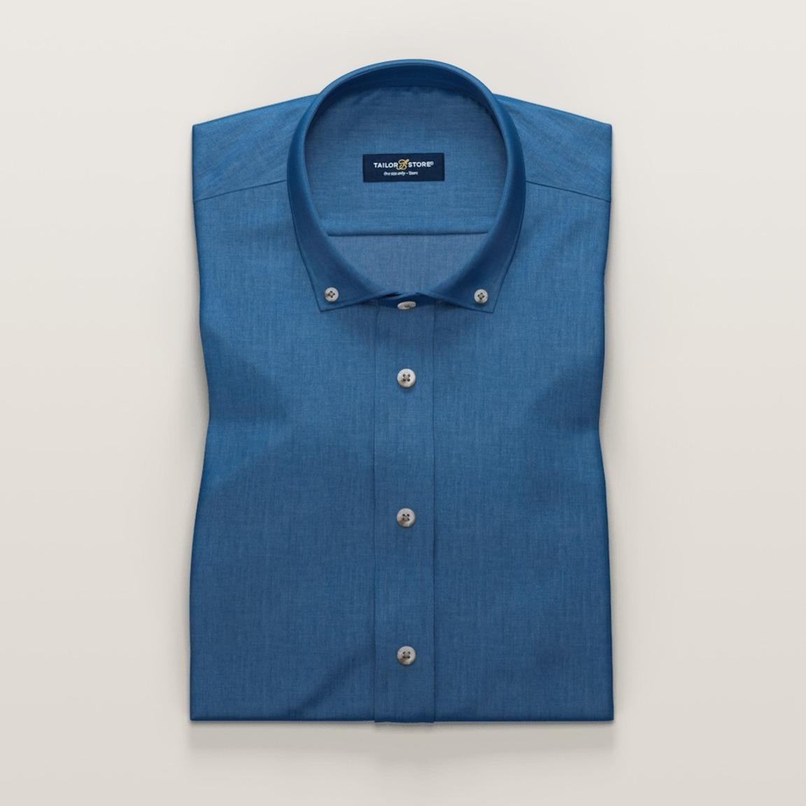 Denim blue short sleeved shirt in cotton-Tencel twill fabric