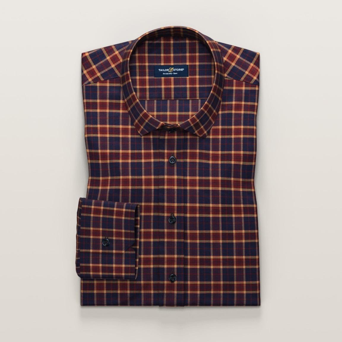 Blue twill shirt in plaid pattern