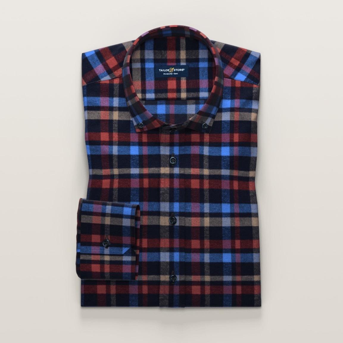 Rutig flanellskjorta i twill