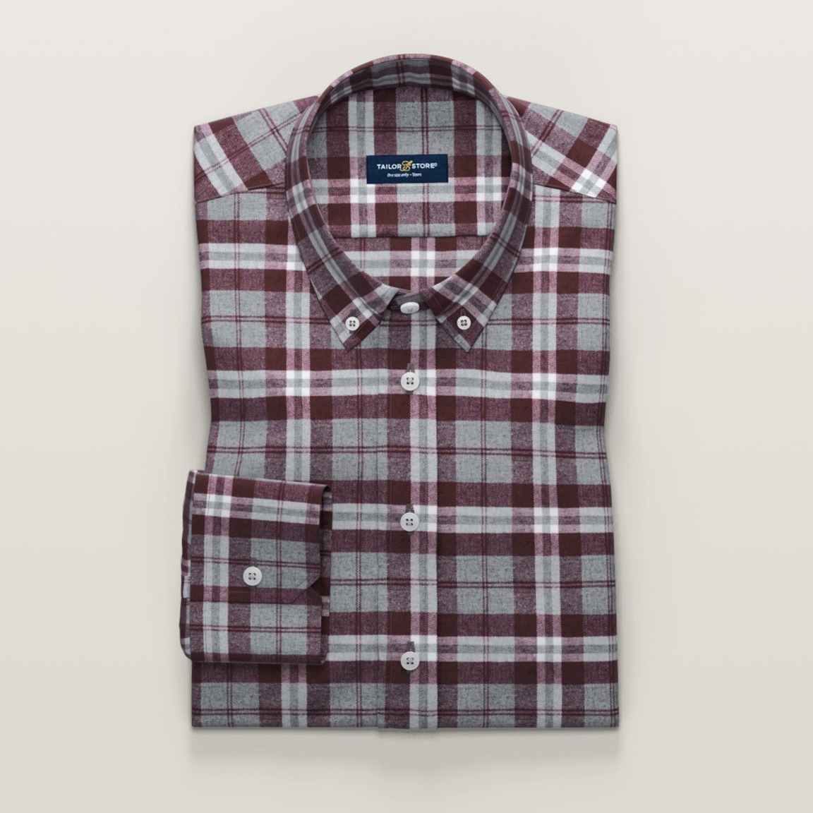 Red checkered flannel shirt in twill