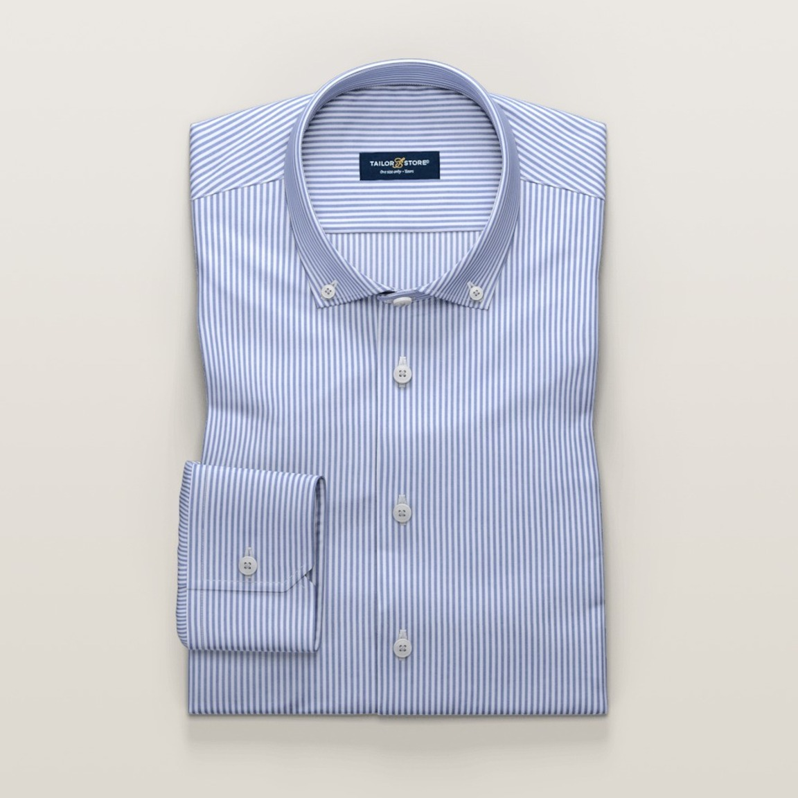 Navy striped oxford business shirt