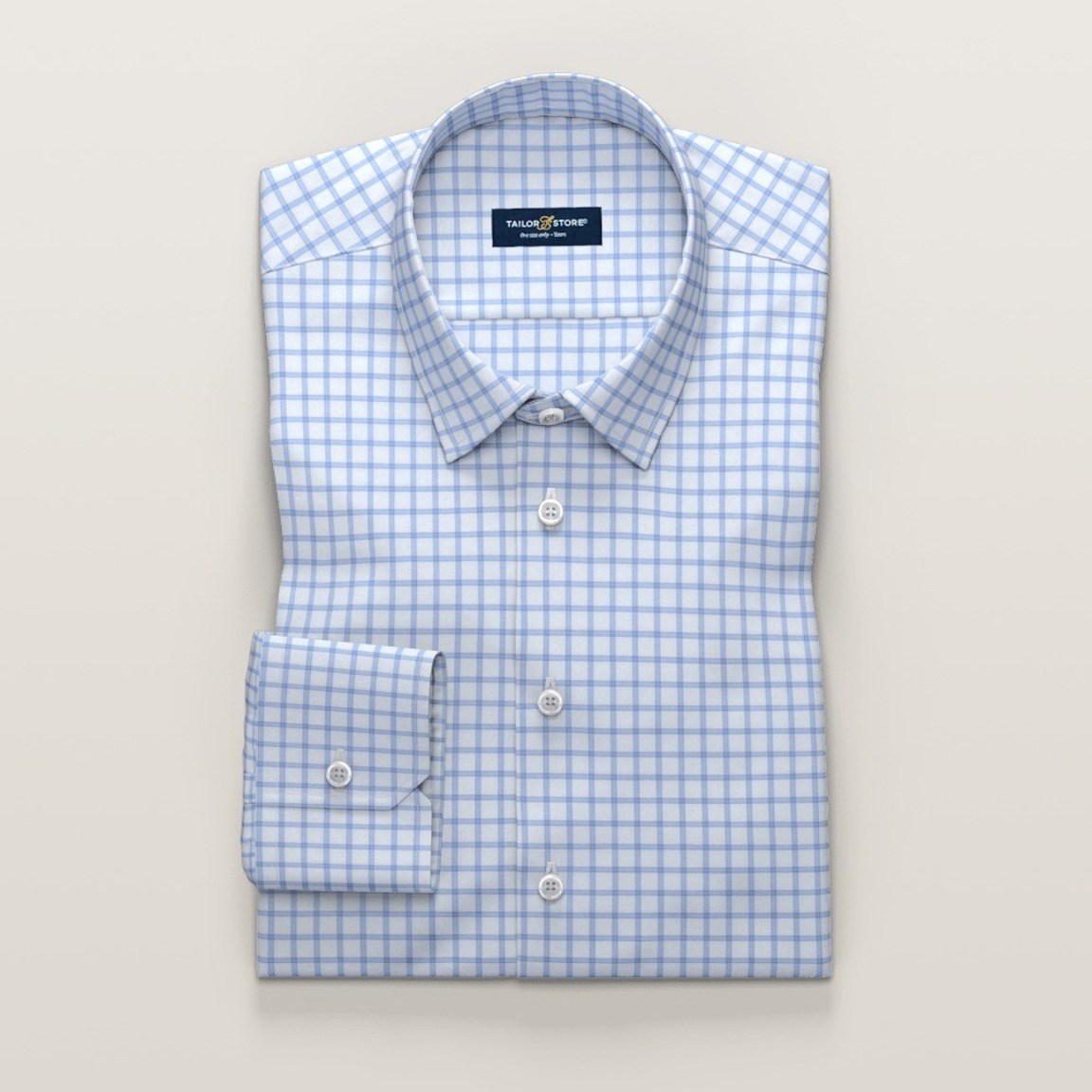Non-Iron business shirt in light blue checkered twill