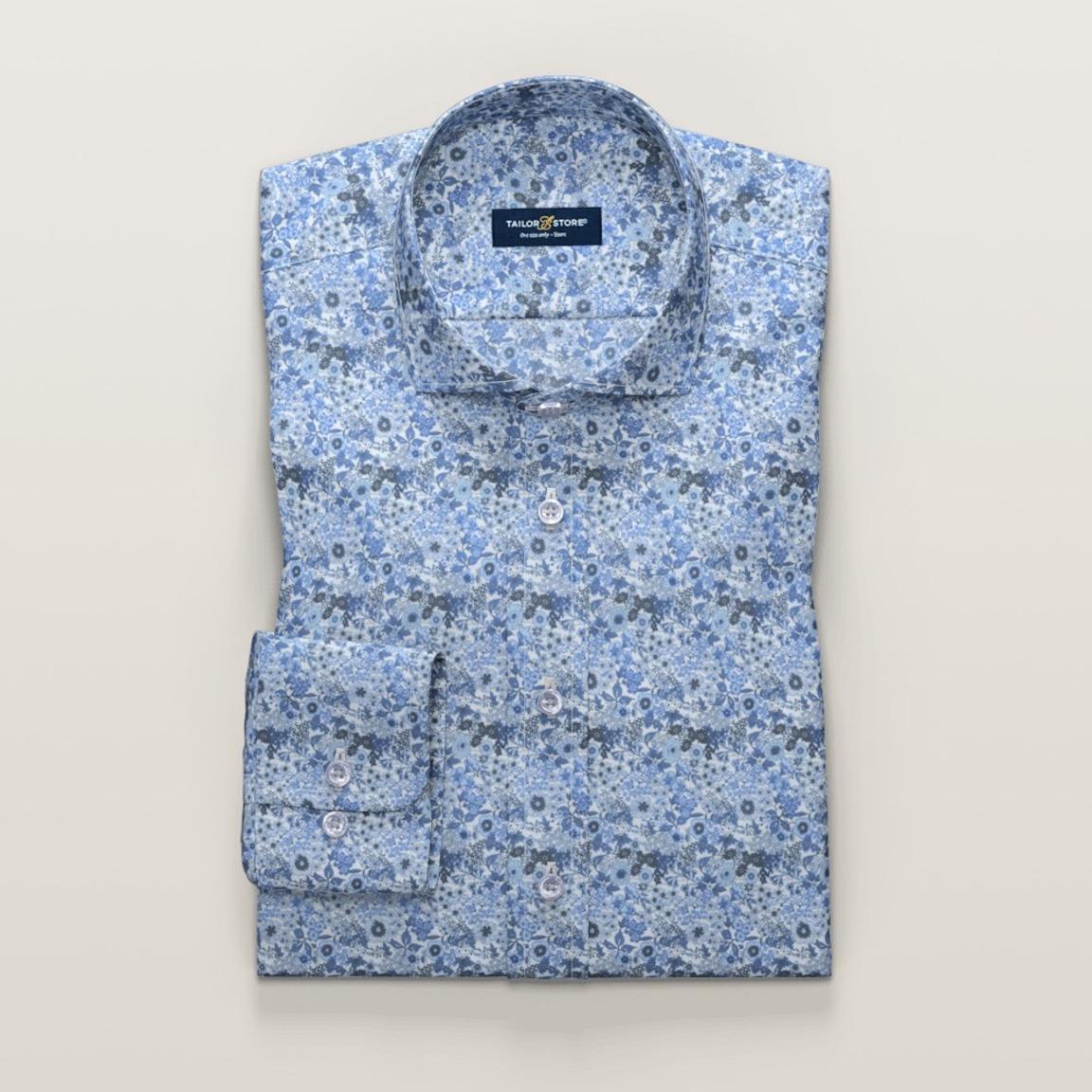 Mid blue printed dress shirt
