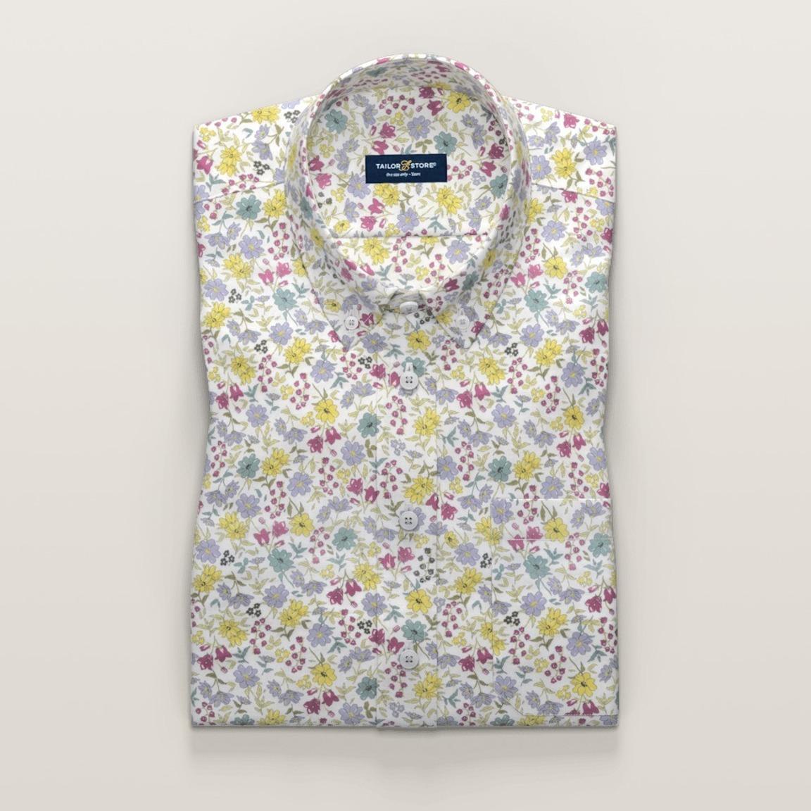 Grön och lila blommig kortärmad skjorta