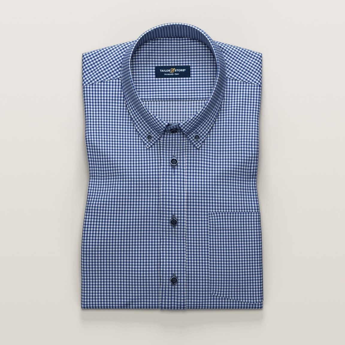 Short sleeved checked dark blue business shirt