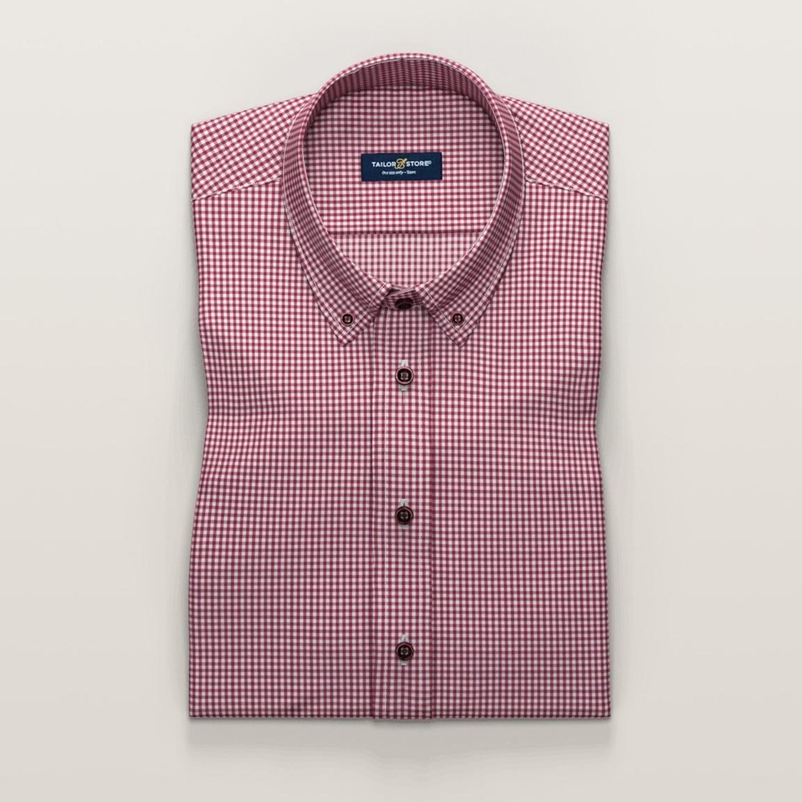 Short sleeved checked dark red business shirt