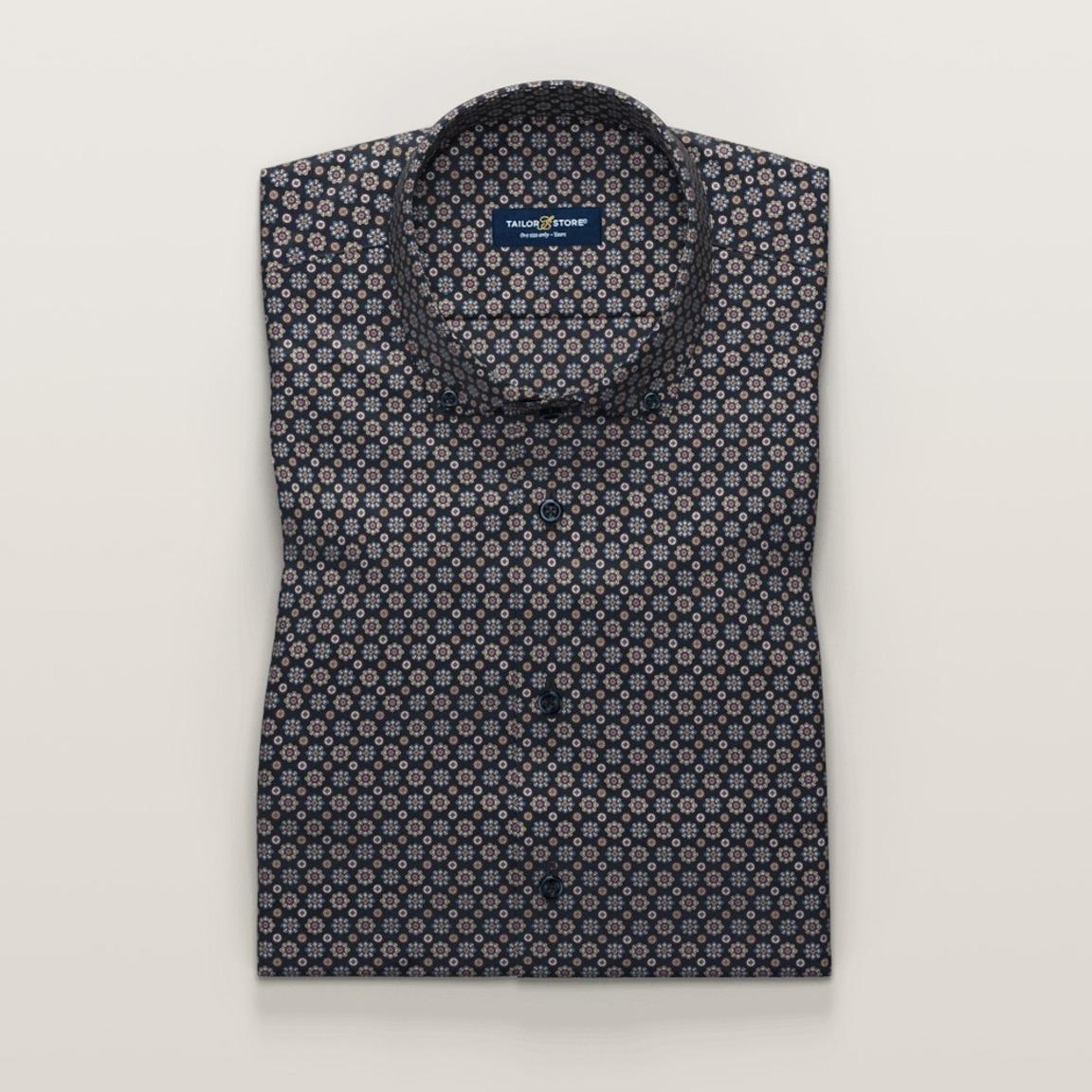 Navy printed short-sleeved dress shirt