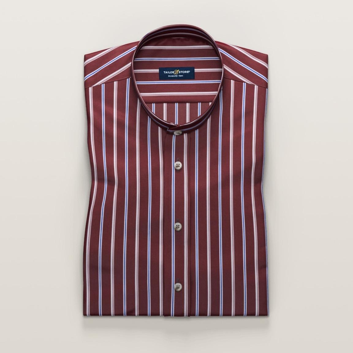 Rood gestreept business overhemd met korte mouwen