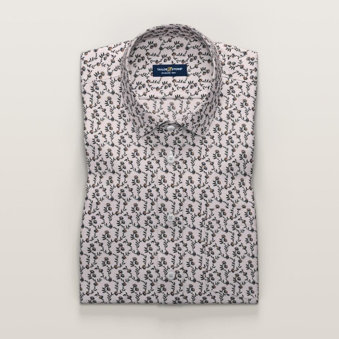 Elfenbeinfarbenes bedrucktes Hemd mit kurzen Ärmeln