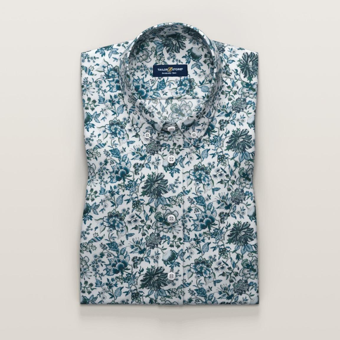 Dark blue printed short sleeved shirt