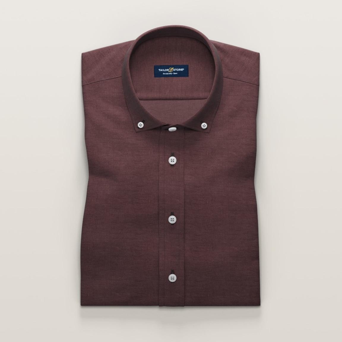 Auberginefarvet linnedskjorte med korte ærmer