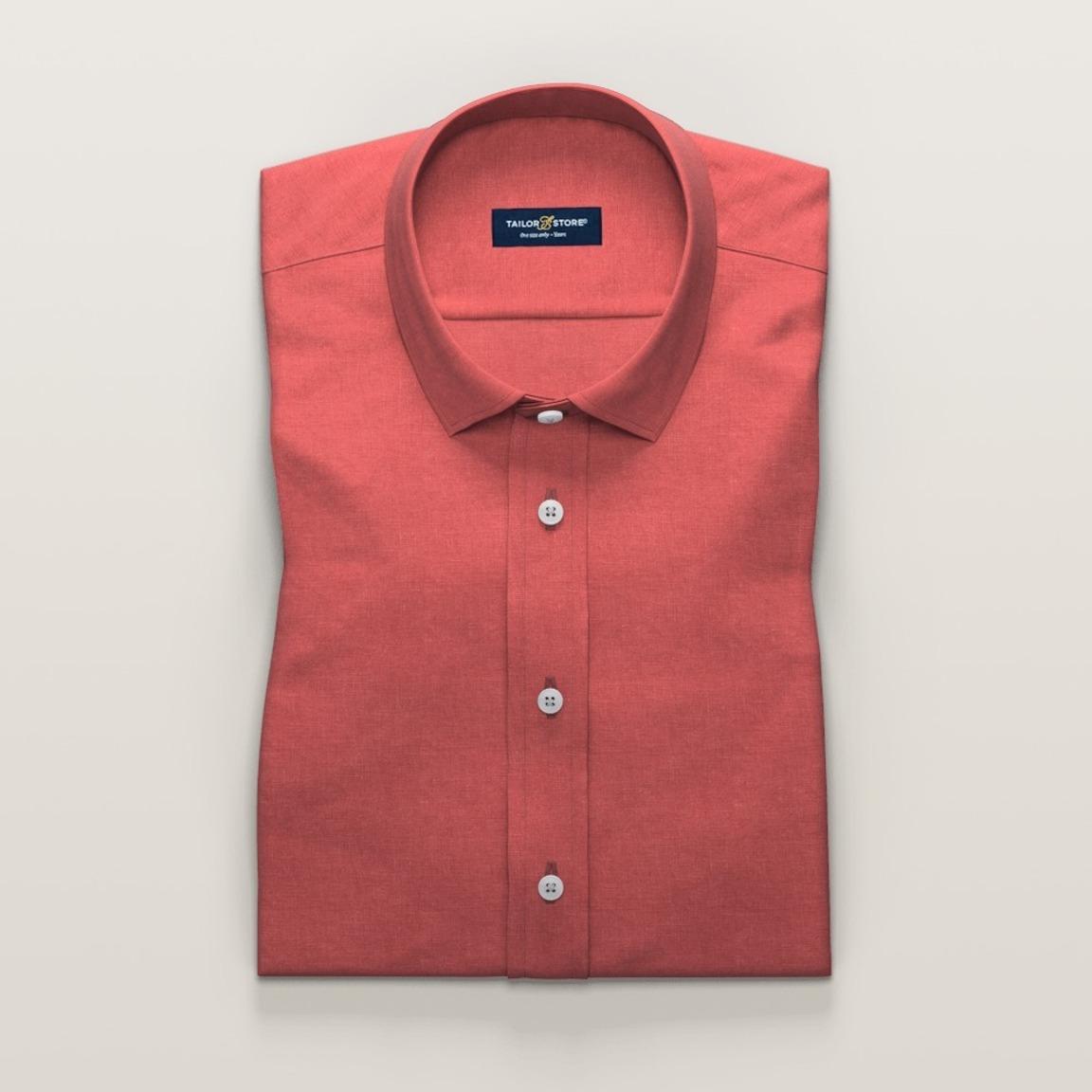 Koraalkleurig linnen overhemd met korte mouwen