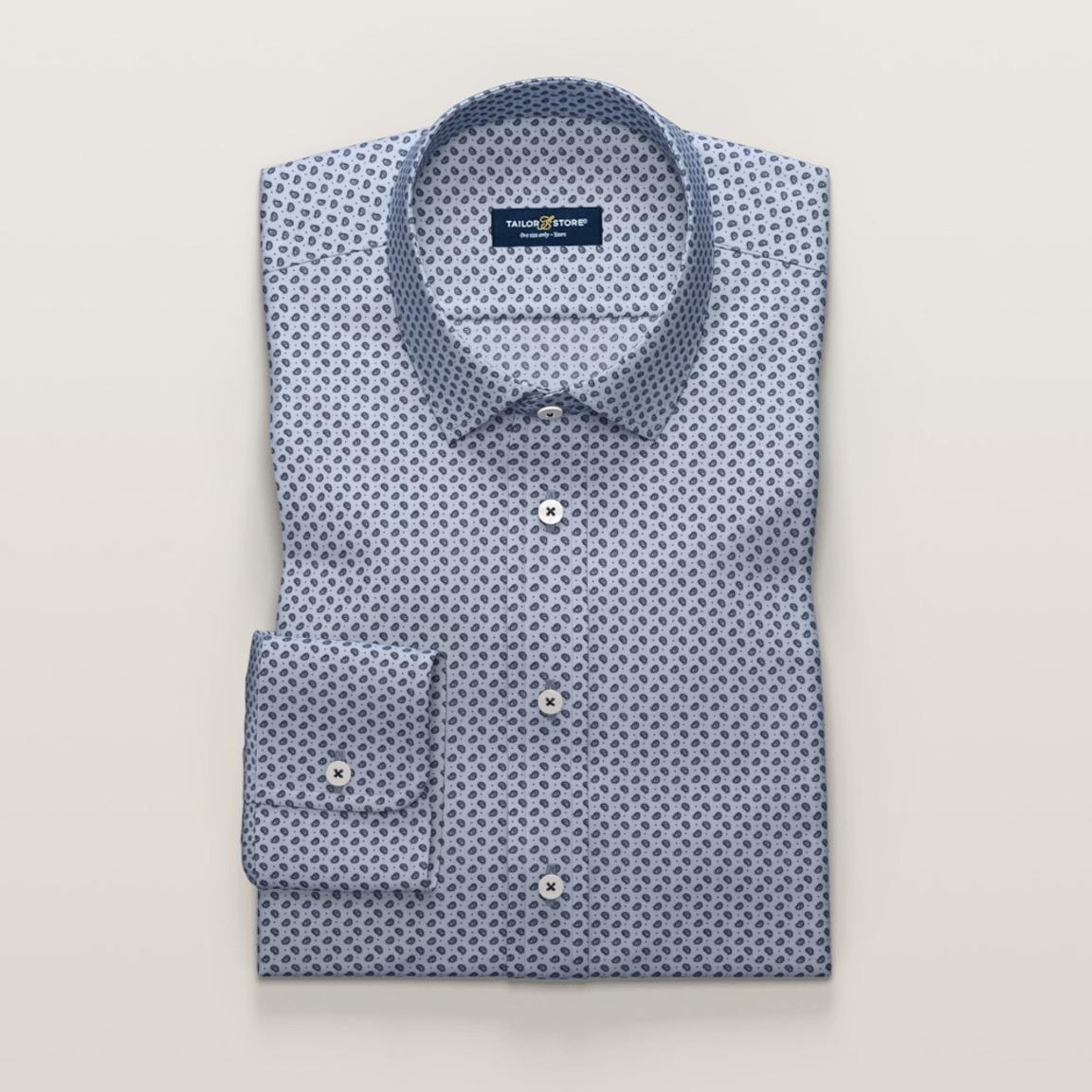 Gemustertes Baumwollhemd mit Cut-Away Classic Kragen