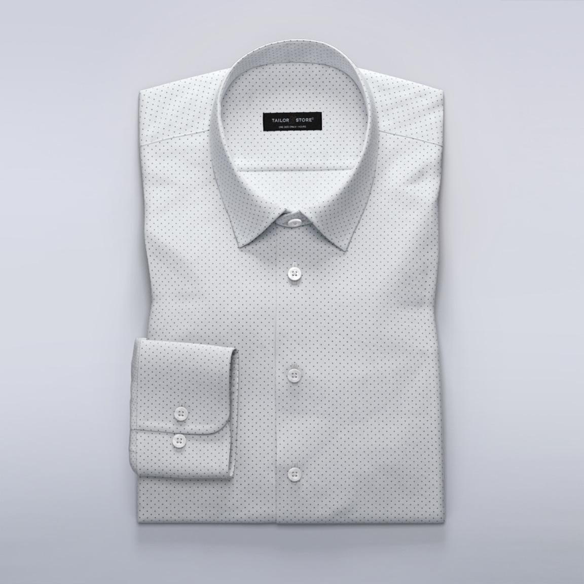 Weiß/navy gepunktetes Popline-Hemd