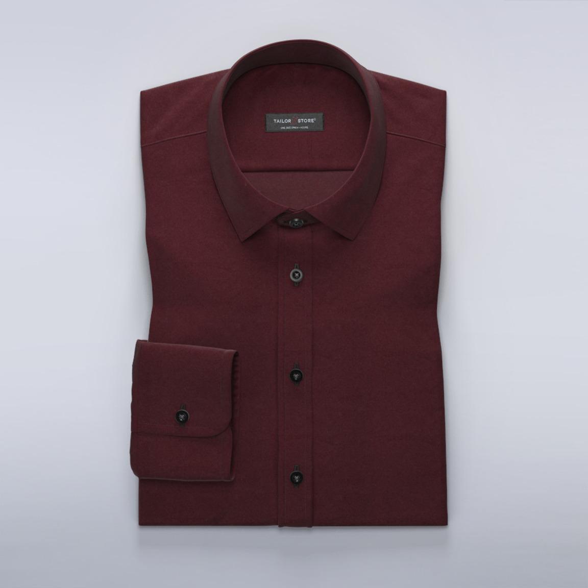 Vinröd skjorta i bomullssatin