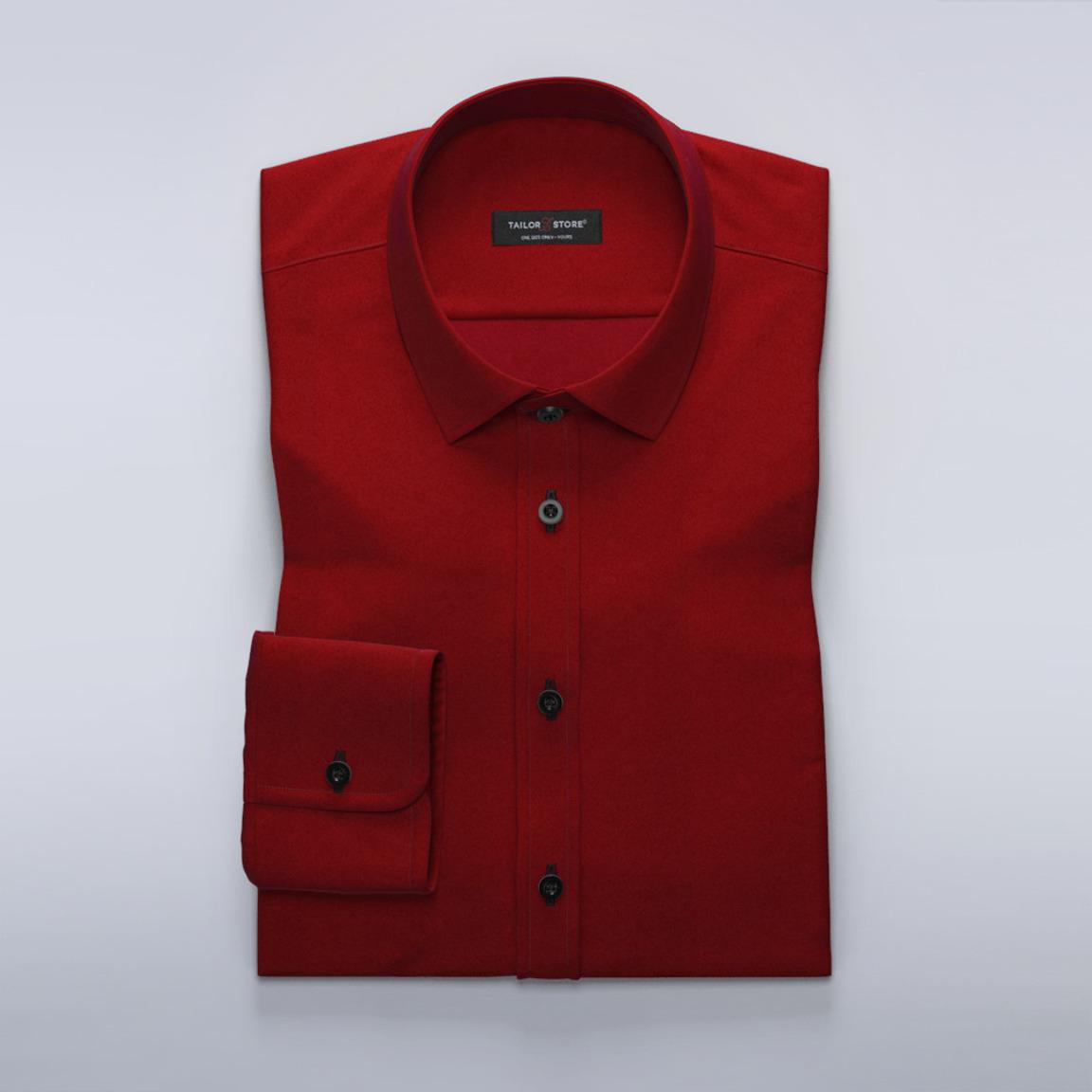 Weinrotes Baumwoll-Satin-Hemd