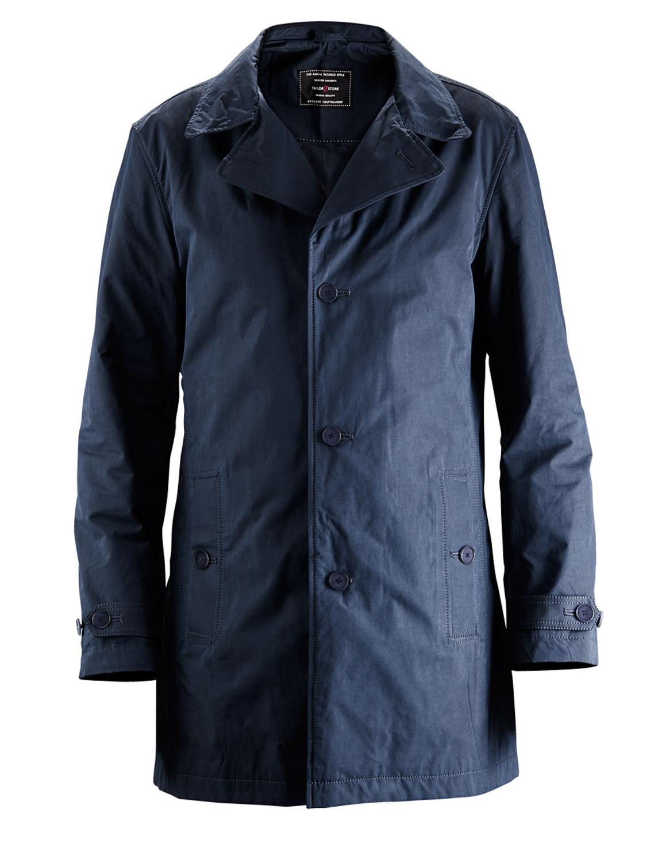 Navy blue tailor made casual car coat - regular fit